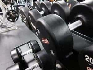 dumbbells at the gym