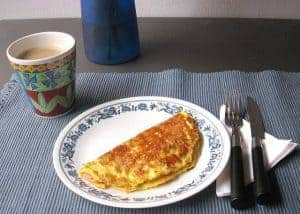 omelette and a cup of coffee