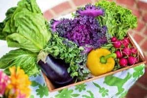 vegetables in a box on the table