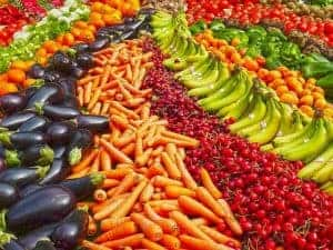 arranged vegetables and fruit