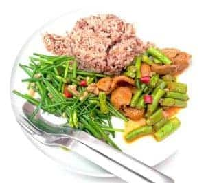 Healthy, dietetic dish with brown rice and vegetables