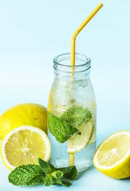 A bottle of lemon and mint water
