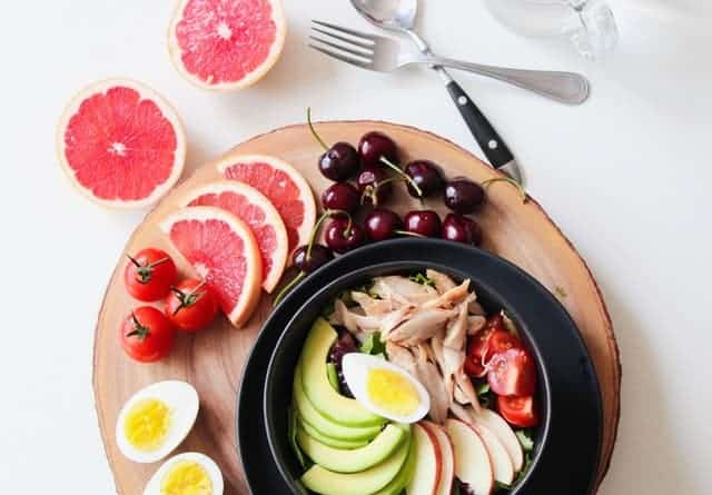 healthy foods on a tray