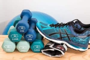 Dumbbells and a sports shoe
