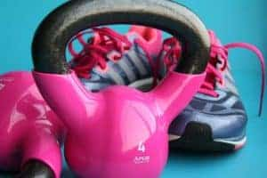 dumbbells and gym shoes