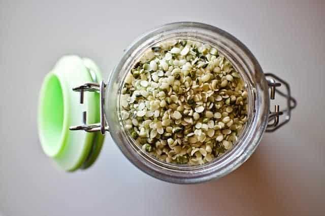 Hemp seeds in a jar