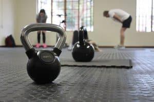 Dumbbells on the gym floor