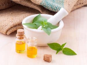 Mortar herbs and plant oils