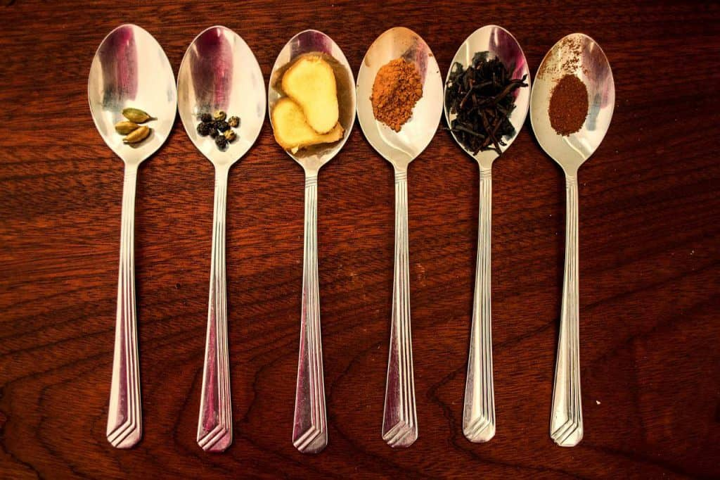 Spices in teaspoons
