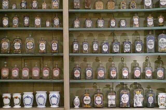 Bottled herbs on the shelf at the pharmacy