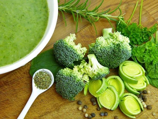 soup, broccoli and leeks on the table