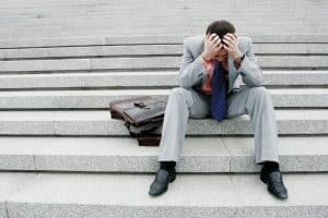 Frustrated man on the stairs