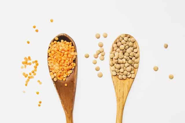 yellow and red lentils