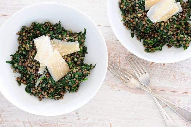 lentils on plates