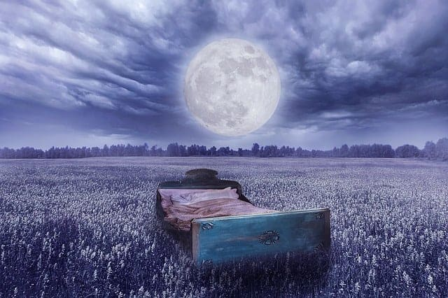 dream reality - a bed in a meadow, the full moon