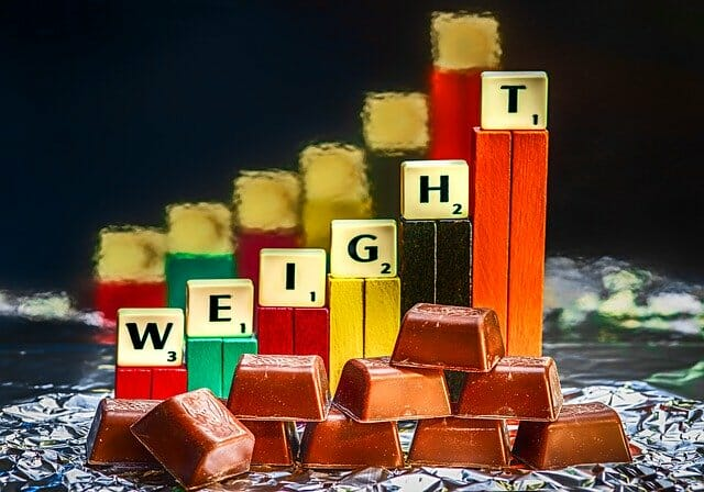 Chocolate bars and bars showing weight gain