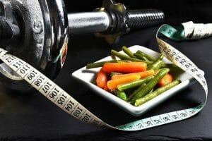 Dumbbells, measure, vegetables, slimming