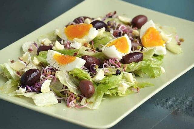 salad with olives and hard boiled eggs