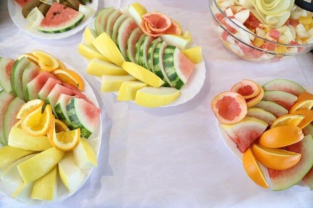 Sliced fruit on salads