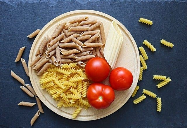 Pasta and tomatoes in a bowl