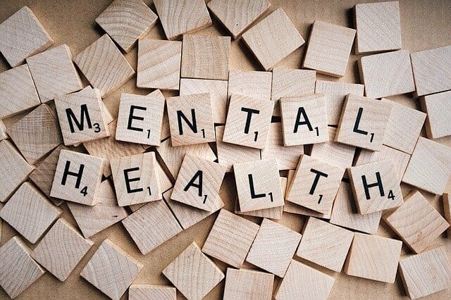 Mental Health inscription arranged with scrabble blocks