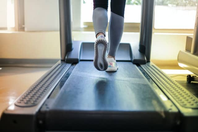 woman on the exercise treadmill