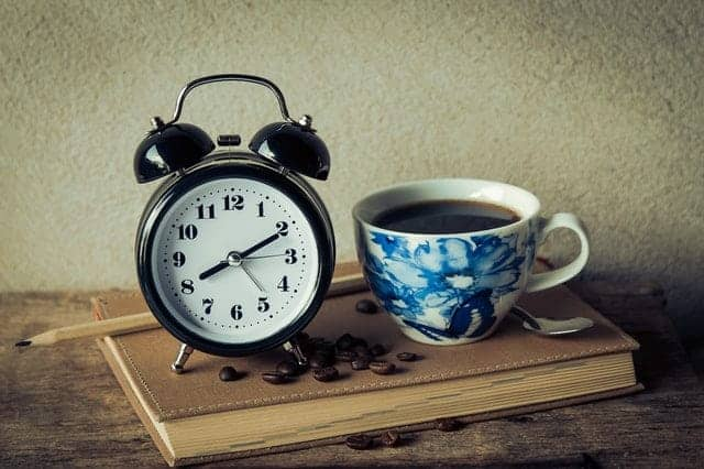 a cup of coffee and an alarm clock