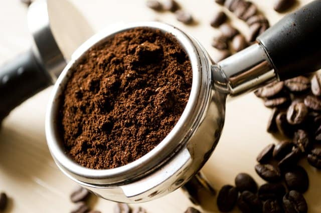 A tablespoon of ground coffee