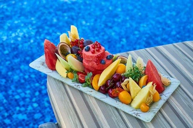 Sliced fruits on a tray