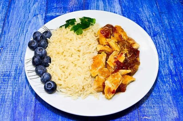 rice with stew on the plate