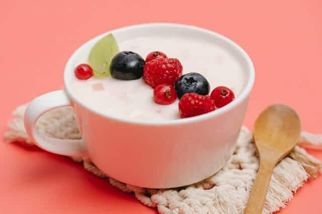 Yoghurt with fruit in a cup