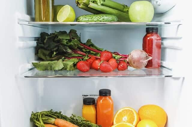 inside the fridge, inside the vegetables, fruits and juices