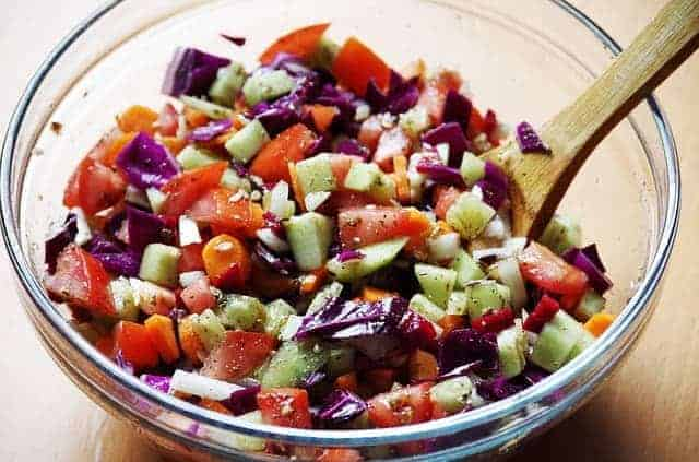 chopped vegetables in a salad bowl