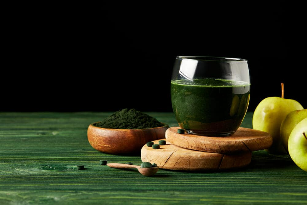 Spirulina in tablets and cocktail with spirulina